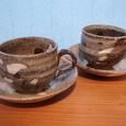 17 灰釉コーヒーカップ&ソーサー