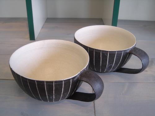 26 黒線文スープカップ